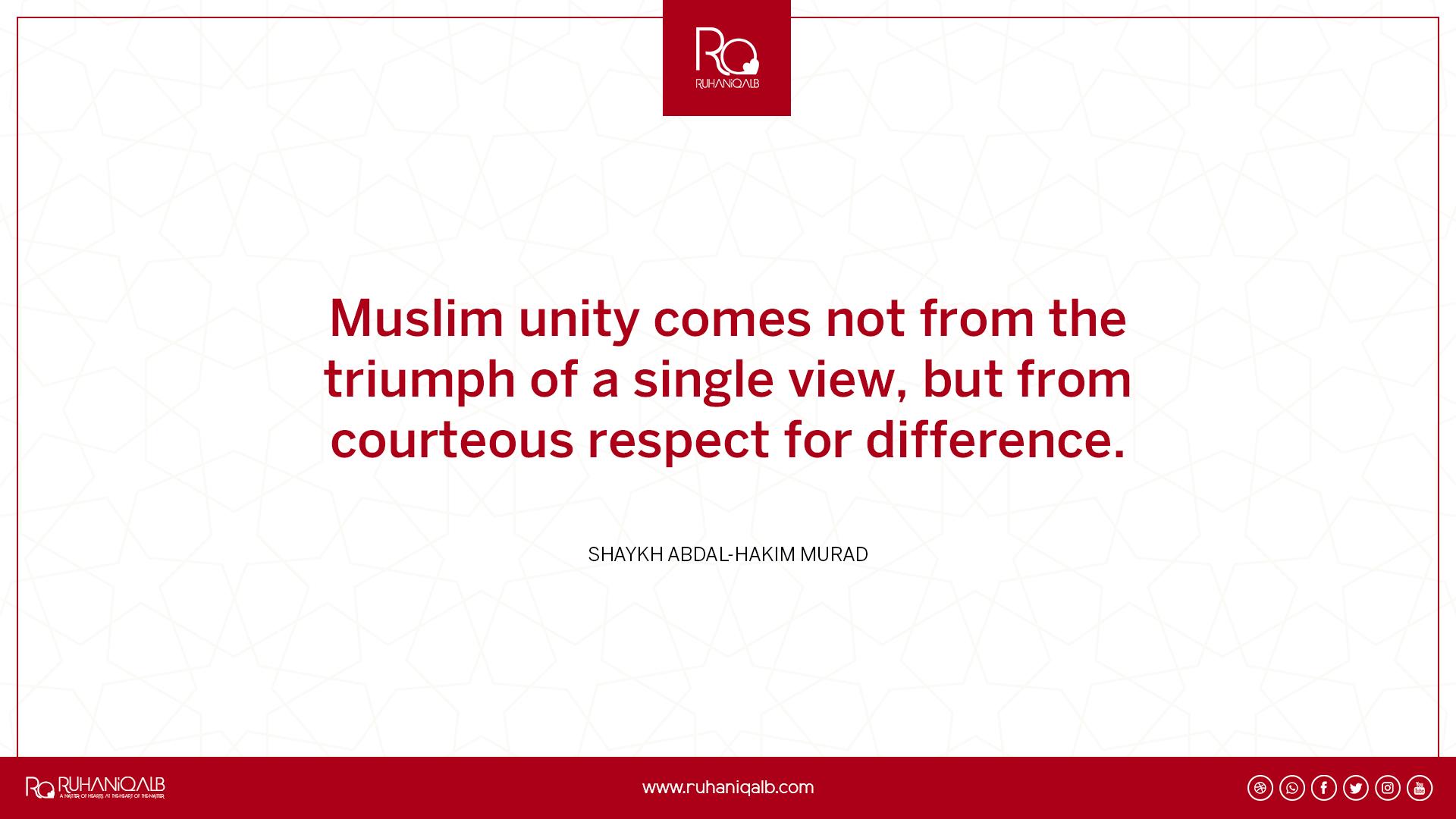 Muslim unity by Shaykh Abdal-Hakim Murad
